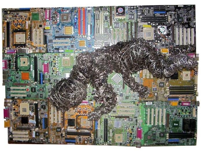 Gianl Luigi Martelli, Scheda madre, 102x74cm, Schede di computer, fili e trucioli di acciaio, 2017