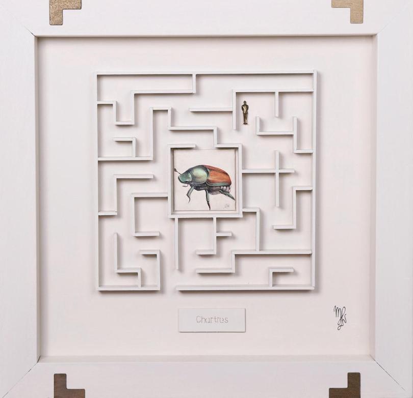 Marina Von Lukas_Chartres_olio su cartone telato, legno, oggetti_67x65cm_2019_800