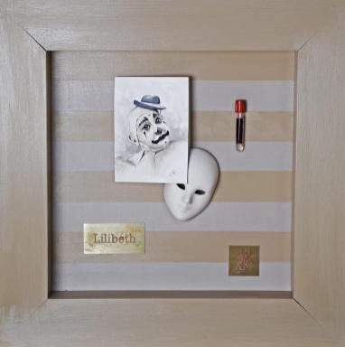 Marina Von Lukas_Lilibeth (coll.In Vino Veritas)_acquarello su carta e oggetti_55,5x55,5cm_2019_500euro
