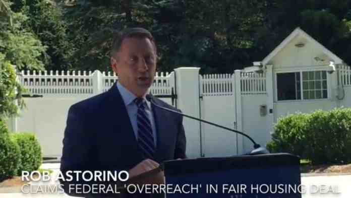 Rob Astorino outside Hillary's home in Westchester.