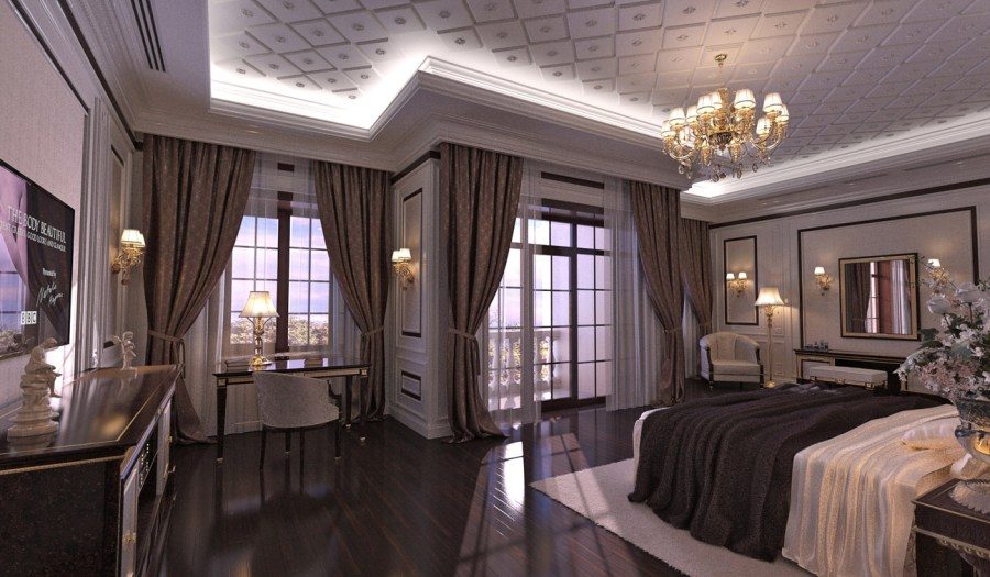 INDESIGNCLUB   Classic Bedroom interior design in Traditional style This Master Bedroom is located in the southwest corner of the second floor  of the house  It is a spacious room with the separated bathroom and the  wardrobe