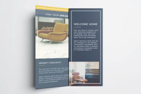 Tri Fold Brochure   Free InDesign Template Real estate flyer free InDesign template   inside view of tri fold real  estate flyer