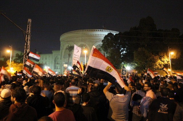 Protest outside Presidential Palace in Cairo, 4 December 2012. Mohamed El Dahshan | Demotix