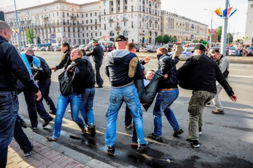 Protesters at the Revolution through Social Networks demonstration in Minsk, summer 2012