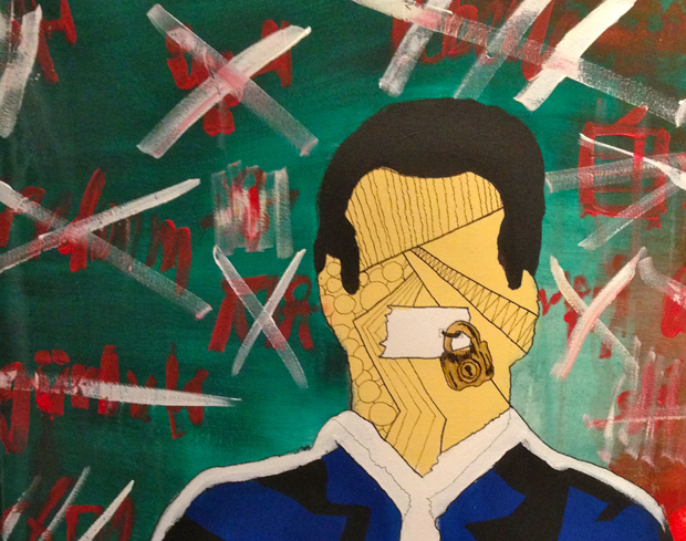 A detail of the work, Speech Strike, a man whose mouth is taped over and locked stands in front of a background of crossed out words.