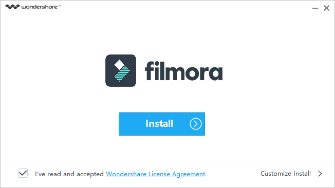 Filmora is being installed