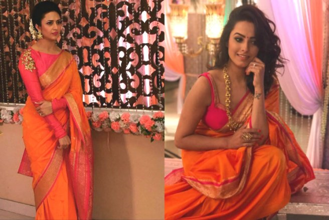 Image result for collage of actresses in tangerine color saree