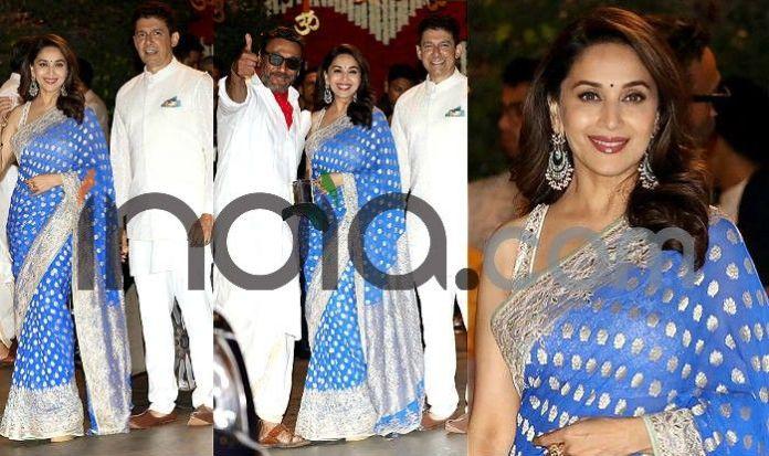 Photo Courtesy: Yogen Shah  Ganesh Chaturthi: Kareena Kapoor, Katrina Kaif, Malaika Arora, Madhuri Dixit And Other Best Dressed Actresses From Event (See Pics) Madhuri Dixit at ganesh Chaturthi celebration