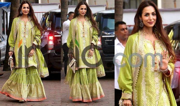 Photo Courtesy: Yogen Shah  Ganesh Chaturthi: Kareena Kapoor, Katrina Kaif, Malaika Arora, Madhuri Dixit And Other Best Dressed Actresses From Event (See Pics) Malaika Arora at ganesh Chaturthi celebration
