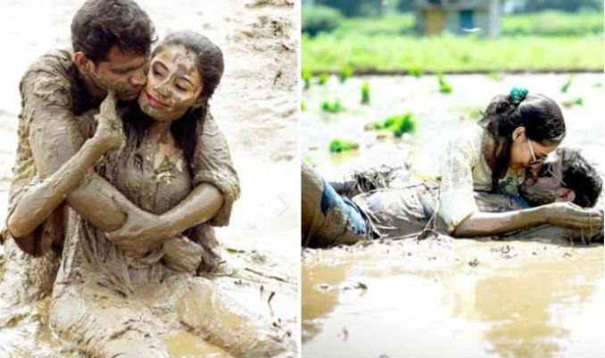 Newly Married Couple Poses in Muddy Field For Post-Wedding