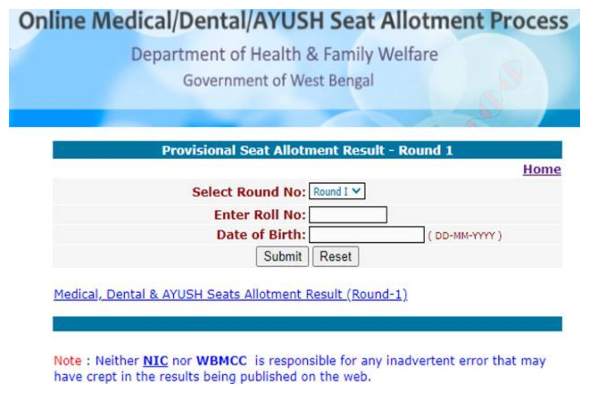WB NEET 1st Seat Allotment Result 2020 Declared, Check Now at wbmcc.nic.in