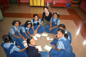 Kate from BeyondAMC Games with students in India