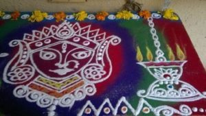 Rangoli during Navaratri