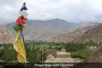 Prayer flags with Chortens