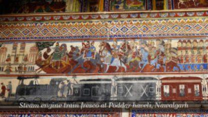 Steam engine train fresco at Poddar haveli, Nawalgarh