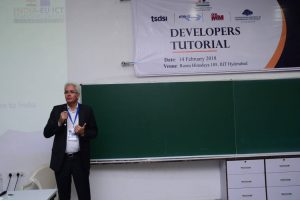Klaus Pendl speaks at Developers tutorial in IIIT Hyderabad