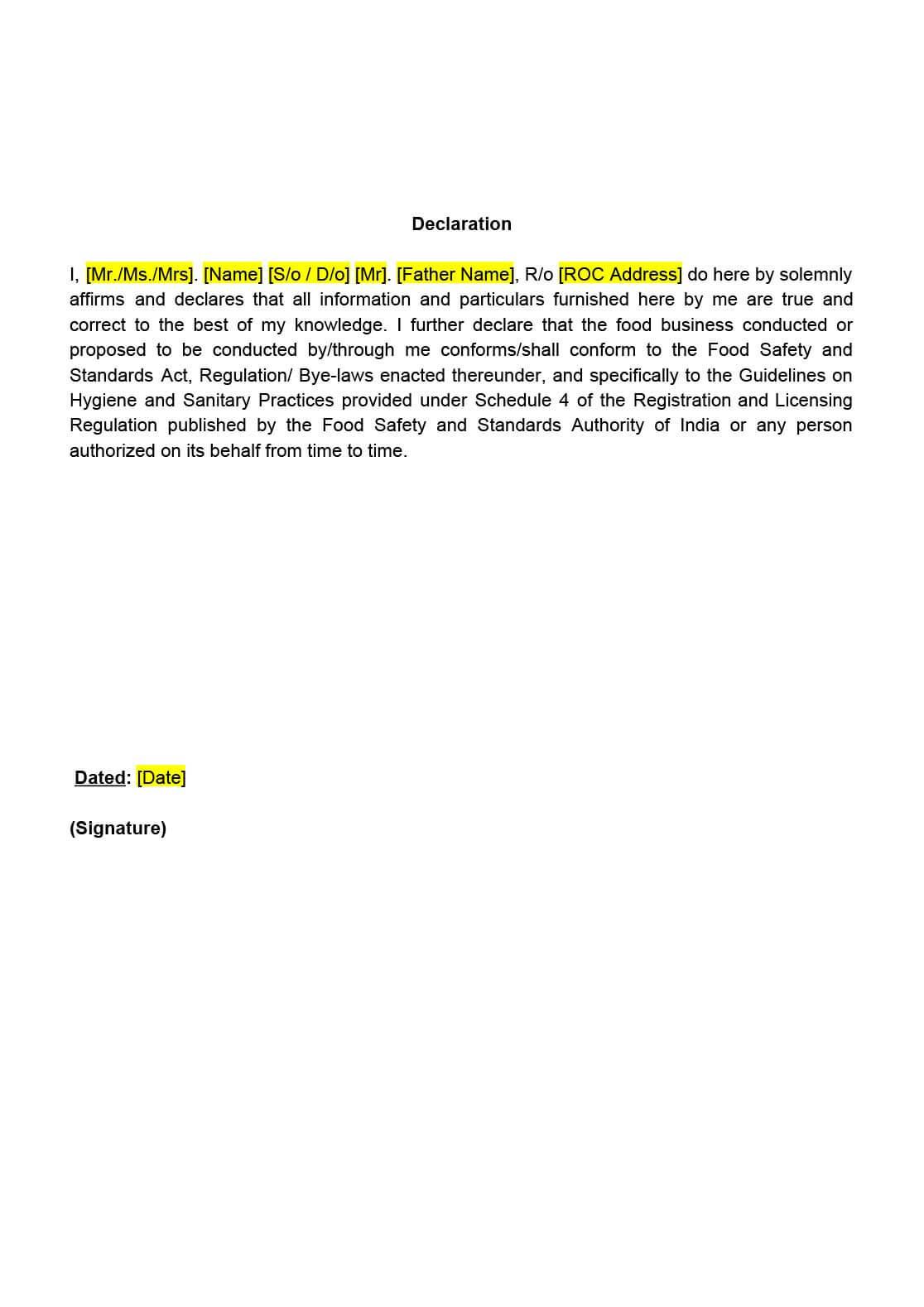 FSSAI Declaration Format