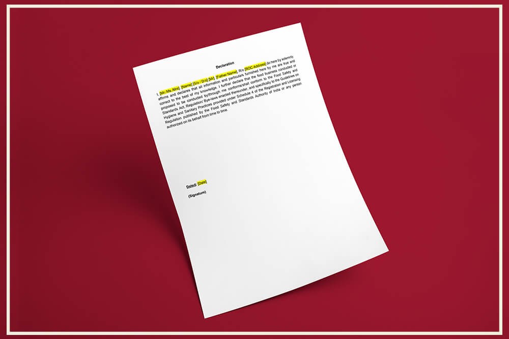 GST Declaration Format