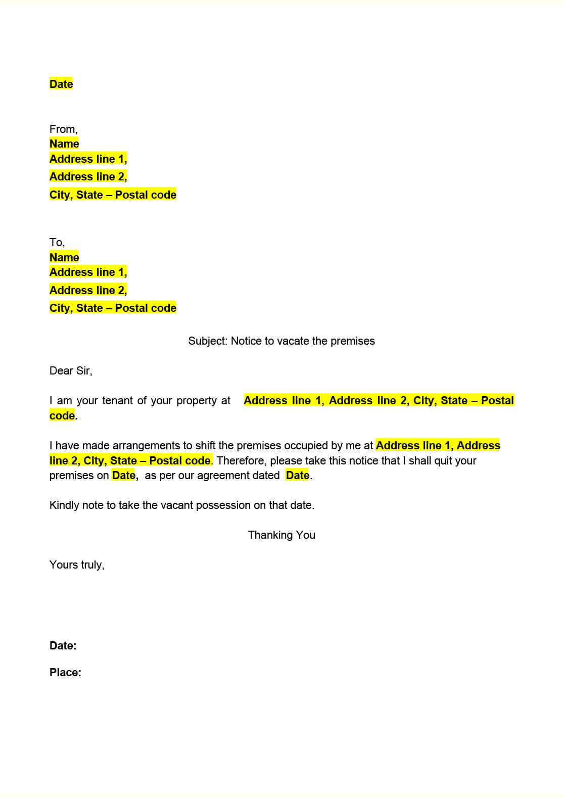Notice to Vacate - For Tenants