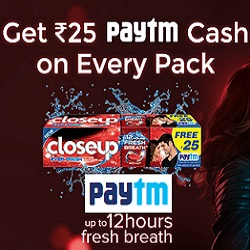 Paytm Closeup Cashback Offer