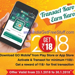 IDBI Bank Transact Karo Earn Karo Offer Get Free Rs.18 Go Mobile+ App