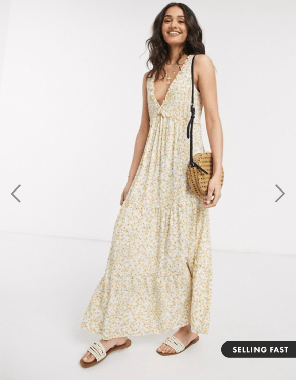 maxi dress in yellow ditsy print