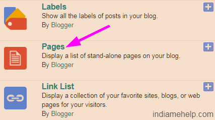 pages option on blogspot