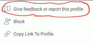 report this profile option