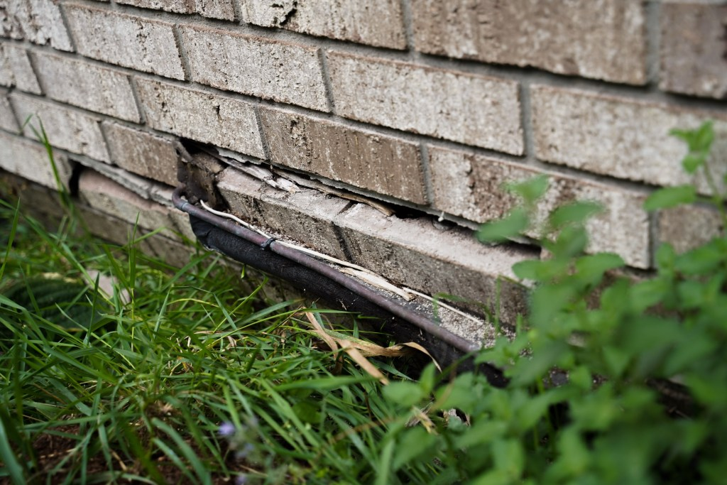 compromised brick foundation on home