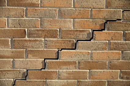 stairstep crack on brick exterior