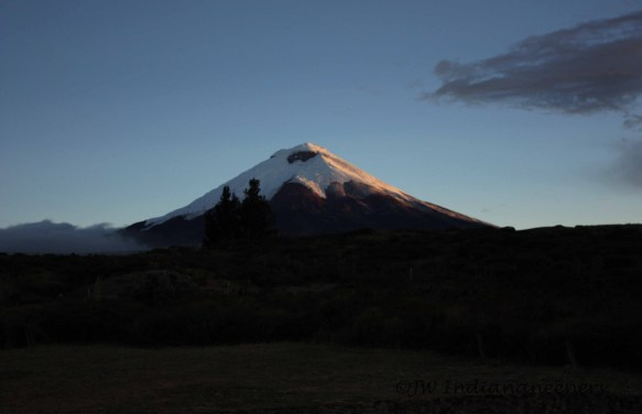The majestic snow capped peak of Cotopaxi.