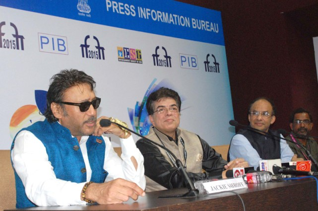 Bollywood Actor and Brand Ambassador of MIFF, Jackie Shroff addressing a press conference, at the 46th International Film Festival of India (IFFI-2015), in Panaji, Goa on November 24, 2015.