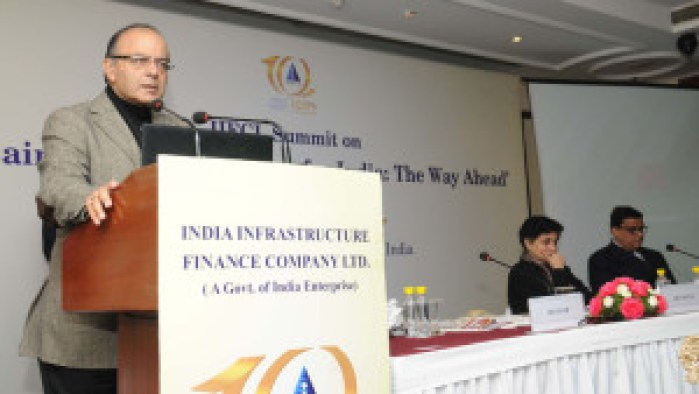 """The Union Minister for Finance, Corporate Affairs and Information & Broadcasting, Shri Arun Jaitley addressing the  National level Summit on """"Sustainable Infrastructure for India: The Way Ahead"""", on the occasion of the 10th foundation day of India Infrastructure Finance Company Ltd. (IIFCL), in New Delhi on January 05, 2016."""