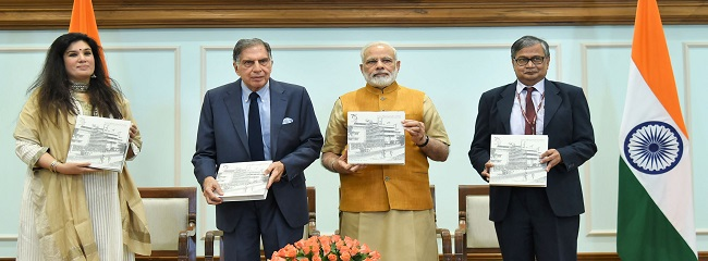 Narendra Modi releasing the Platinum Jubilee Milestone book-indianbureaucracy