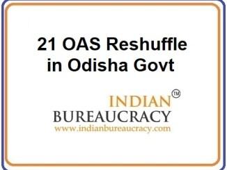 21 OAS Reshuffle in Odisha Govt