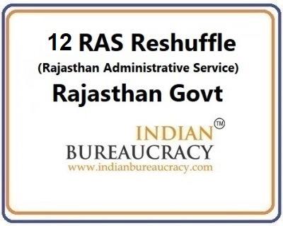 12 RAS Reshuffle in Rajasthan Govt