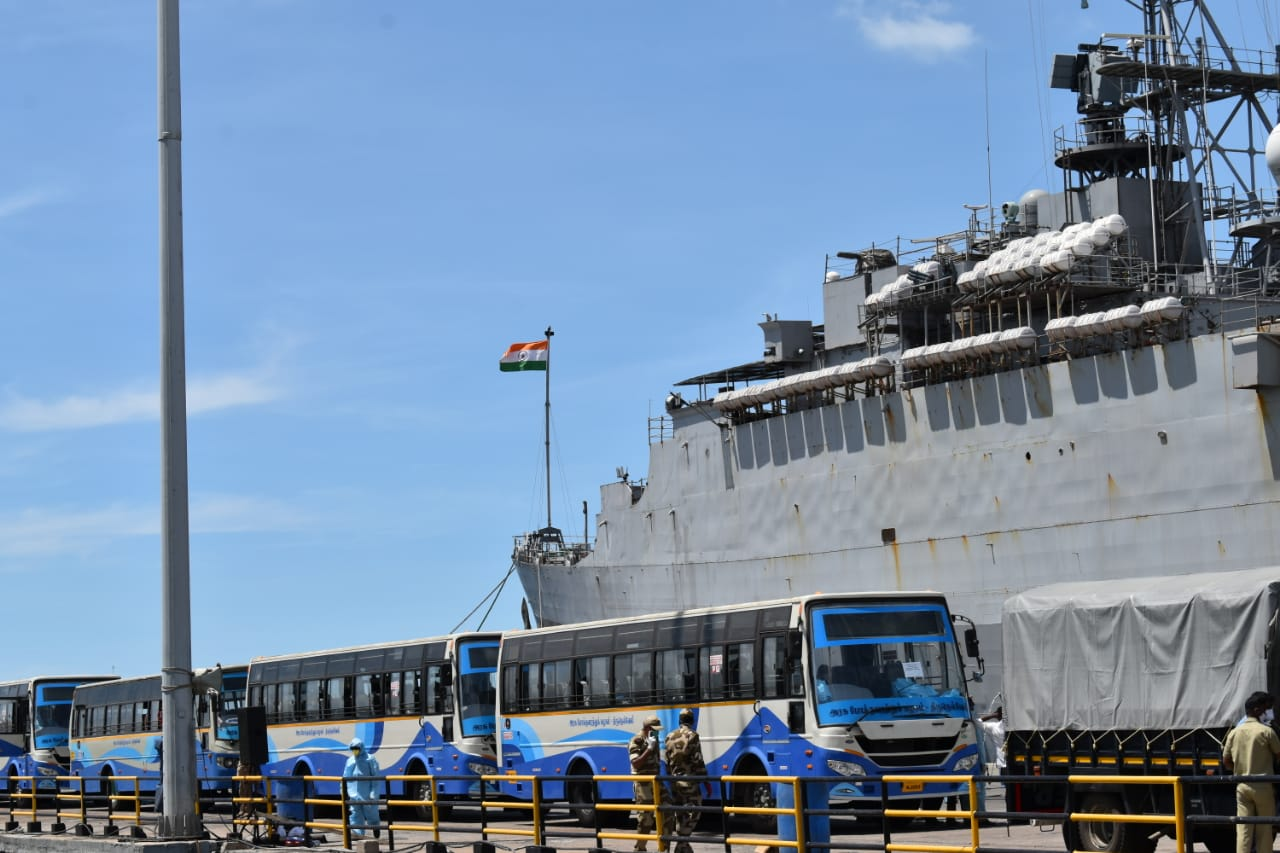 Operation Samudra Setu – INS Jalashwa Arrives at Tuticorin