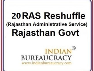 20 RAS Transfer in Rajasthan Govt