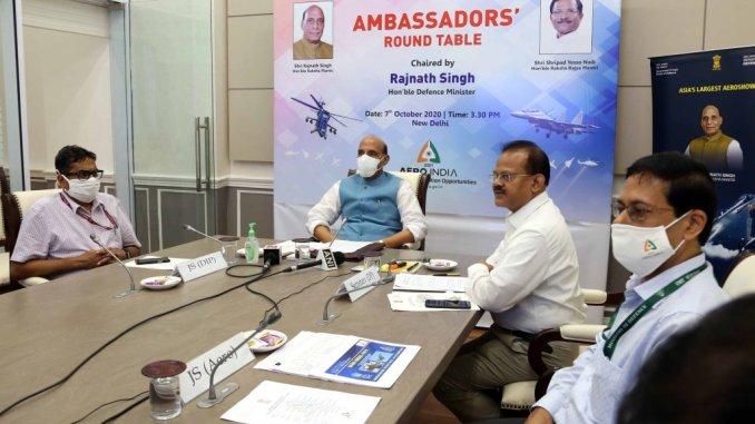 Raksha Mantri Shri Rajnath Singh chairs Ambassadors' Round-table Virtual Conference on Aero India