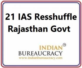 21 IAS Transfer in Rajasthan Govt