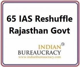 65 IAS Reshuffle in Rajasthan Govt