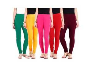 Aashish Fabrics Cotton Lycra Pack of 5 Leggings