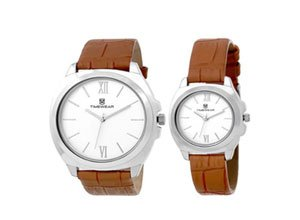 H Timewear Analog Silver dial Couple Watch