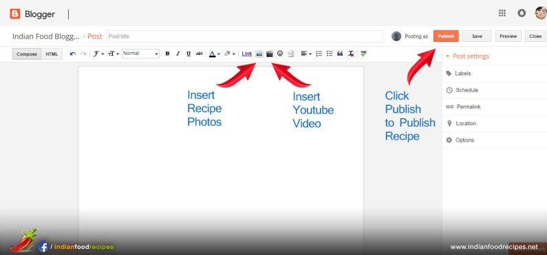 Step 17 - Click Image icon to insert step by step recipes photos. Click Video icon to insert Youtube Video in your food blog. Click Publish button to publish recipe in your food blog.