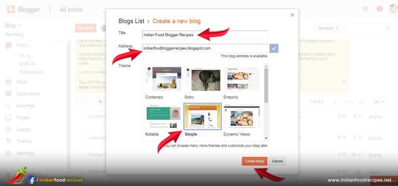 Step 3 - Create a New Blog. Type Title, Food Blog Address and Design Template and click Create Blog
