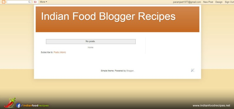 Step 6 - You will see preview of your food blog