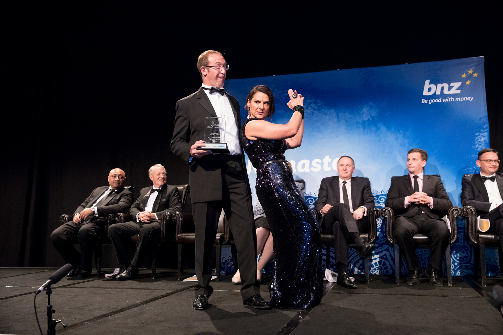 Andrew Little performs a dance number with Jackie Clarke