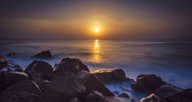An early morning view of Rushikonda Beach located in Visakhapatnam on the coast of Bay of Bengal