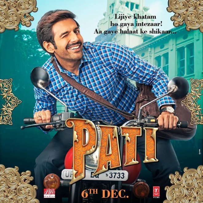 The first posters of Kartik Aaryan and Bhumi Pednekar-starrer Pati, Patni Aur Woh are out and it couldn't be more funny. Kartik is seen riding a bike, sporting a moustache and a checked shirt. He winks his way to our hearts.