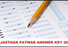 RSMSSB Rajasthan Patwari Mains Exam Answer Key 2016 Check 24th December cut off marks